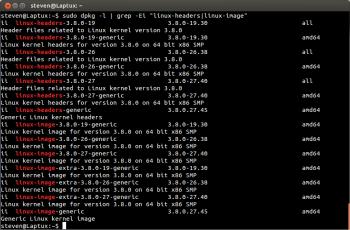 Liste des kernels installés