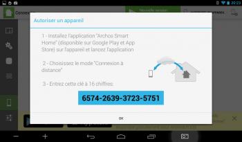 Archos Smart Home : connexion d'un smartphone