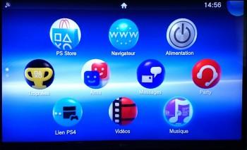 Le menu du PS TV