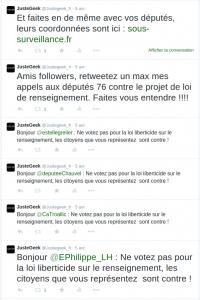 Tweets aux députés de sein maritime contre le projet de loi Renseignement