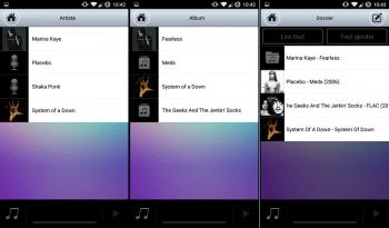 Navigation dans les fichiers audio, par artiste, par album ou par dossier