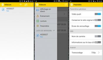 Ecran d'accueil, menu et paramètres de l'application AiSecure