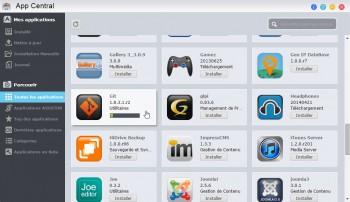 AppCentral : installation de l'application en cours