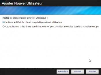 Asustor Data Master : choix du profil de l'utilisateur local
