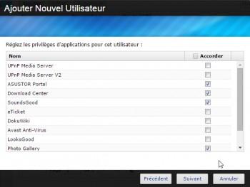 Asustor Data Master : autorisations sur les applications