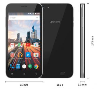 Les dimensions du smartphone Archos 50 Helium Plus