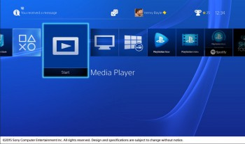 Ecran d'accueil de la PS4