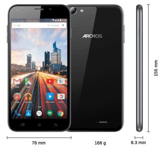 Les dimensions du smartphone Archos 55 Helium Plus