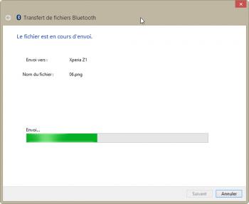 Envoi du fichier depuis le PC