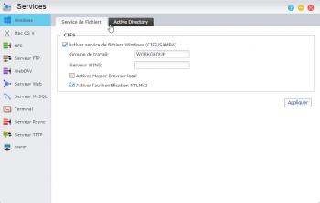 Activez le service de fichiers Windows (Samba, CIFS) pour accéder à vos fichiers depuis Windows