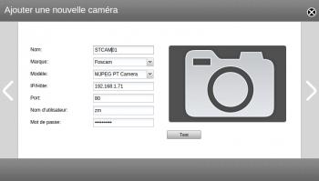 Informations à renseigner sur votre caméra : adresse, utilisateur, mot de passe...