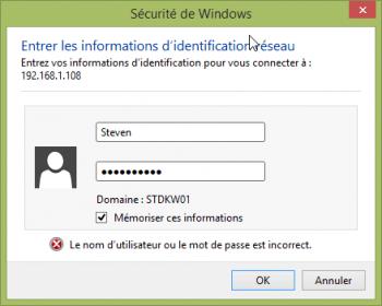 Authentification de l'utilisateur pour accéder aux partages du NAS