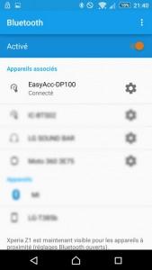 L'enceinte Bluetooth DP100 connectée au smartphone