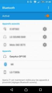 Recherche des périphériques Bluetooth sur le smartphone