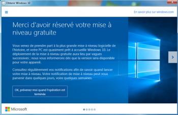 Voilà la confirmation de réservation de la mise à jour Windows 10