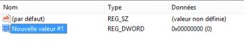 Création d'une valeur DWORD32 dans le registre