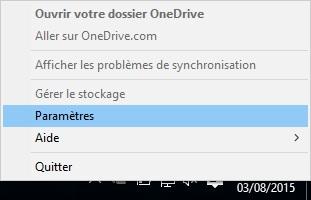 Le menu contextuel de l'icône OneDrive
