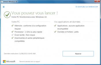 Avant la mise à jour, Windows analyse le PC pour voir s'il est compatible Windows 10