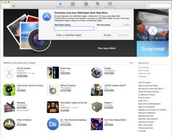 Authentifiez-vous pour obtenir la mise à jour depuis l'App Store