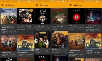 Le catalogue des audiogames disponibles dans l'application Audigame