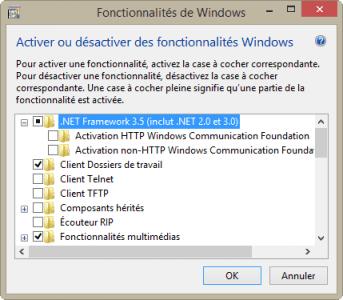 """Cochez """".Net Framework 3.5 (inclut .NET 2.0 et 3.0)"""