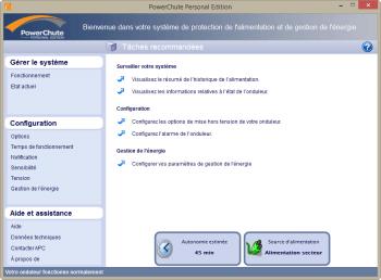 L'écran d'accueil du logiciel