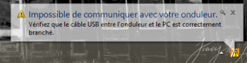 Windows vous informe si l'onduleur est déconnecté