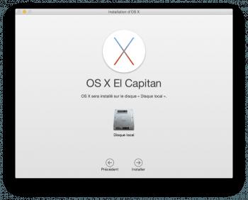Choisissez le disque où sera installé OS X
