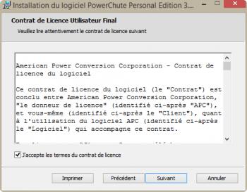 Acceptez le contrat de licence du logiciel