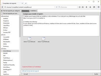 Procédure d'installation pour chaque logiciel, avec versions 32 et 64 bits.