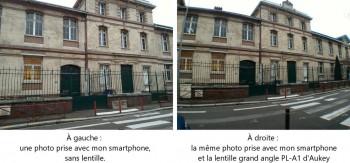 Différence entre photo normale et photo avec la lentille grand angle d'Aukey