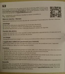 Le manuel de la perche à selfie est disponible en français