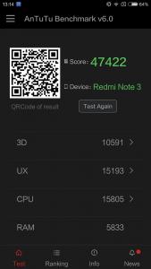 Le Redmi Note 3 de Xiaomi affiche un score de 47422 sur Antutu v6.0