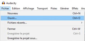 Pour importer votre fichier audio dans Audacity, utilisez la fonction Ouvrir