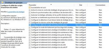 """Localisez la stratégie nommée """"Configurer le délai des scripts d'ouverture de session"""""""