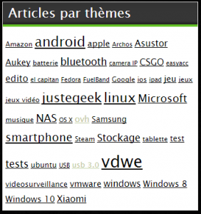 Un nouvelle rubrique arrive dans la Sidebar en février 2016 pour trouver des articles en fonction de mots-clés