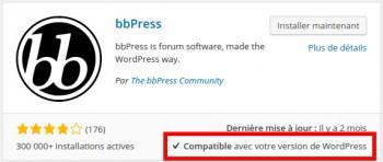 Vérifiez la compatibilité du plugin avec votre version de WP