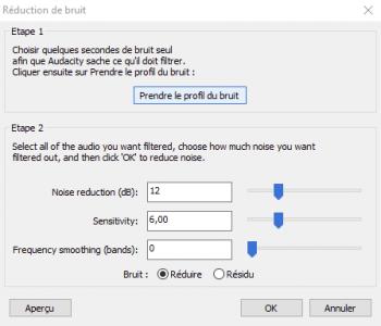 Cliquez sur le bouton Prendre le profil du bruit