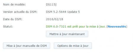 Lancez à présent la mise à jour de DSM