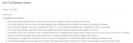 Les notes de version de DSM 6.0