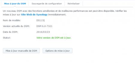 Votre NAS est maintenant en DSM 6.0