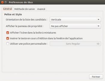 La fenêtre ibus-setup permet de régler les paramètres du clavier