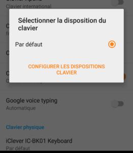 Modification de la disposition du clavier