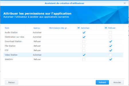 Etape 09 : attribuez les permissions des applications