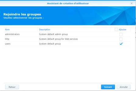 Étape 06 : Attribution des groupes dont l'utilisateur fera partie