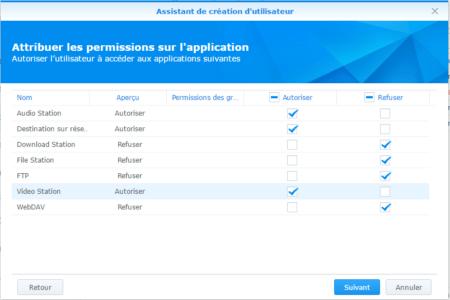 Etape 09 : attribuez les permissions des applications