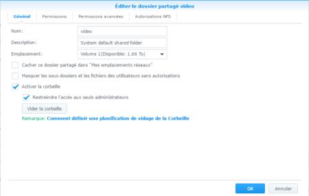 La corbeille est activable pour chaque dossier indépendamment des autres : ici le dossier video