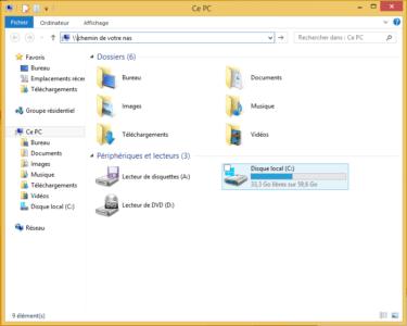 Saisissez l'adresse de votre NAS dans la barre d'adresse de l'explorateur Windows