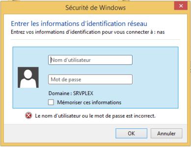 Renseignez le nom et le mot de passe d'un utilisateur ayant le droit d'accéder au dossier partagé