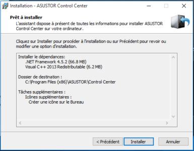 Cliquez sur Installer pour lancer l'installation de Control Center